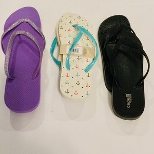 Lot 3 pair new Flip Flops Size 9-10
